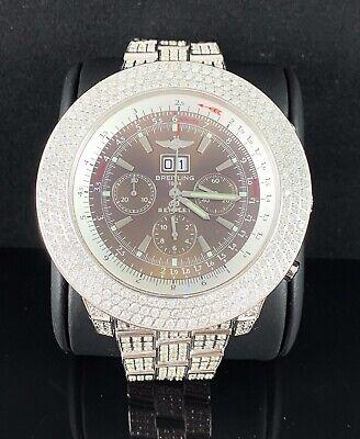 Breitling Bentley 47mm Iced 14ct Genuine Diamonds Brown Dial Steel Men's Watch