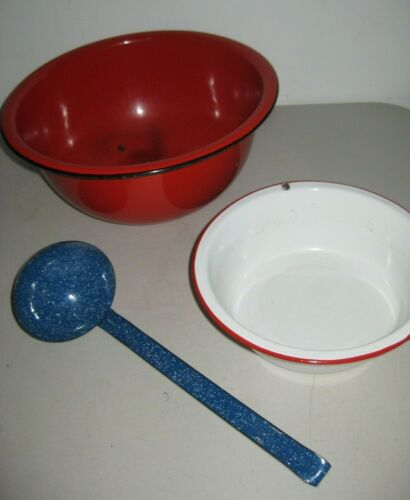 Lot of 3pcs Enamelware/Graniteware Red Bowl, White Bowl w/Red Trim & Blue Ladle