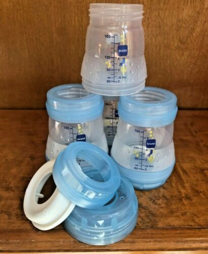 4 bottles Mam Anti Colic Bottle Boy 5 Ounces 4 Count Baby Bottles Boys Blue