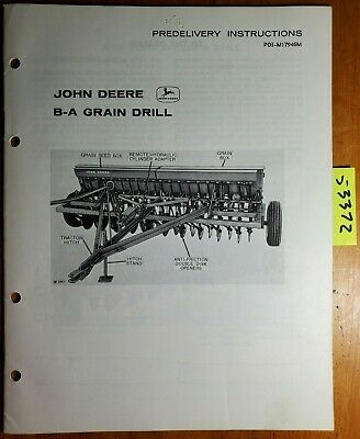 John Deere B-a Grain Drill Predelivery Instructions Manual Pdi-m17946m A3 163