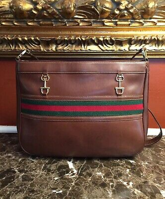 VINTAGE GUCCI EQUESTRIAN HORSEBIT HOUSE WEB STRIPE LEATHER SHOULDER BAG ITALY