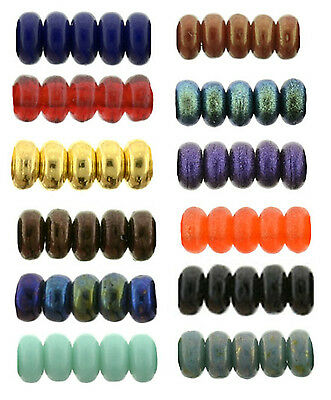 100 Tiny Czech Glass Rondelle Spacer Beads 3MM Opaque And Assorted Colors  ()