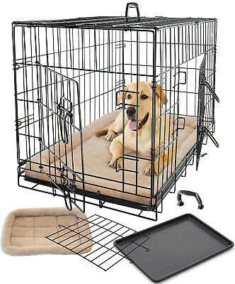 Pet Dog Cat Crate Kennel Cage Bed Pad Cushion Warm Soft Cozy House Kit Playpen