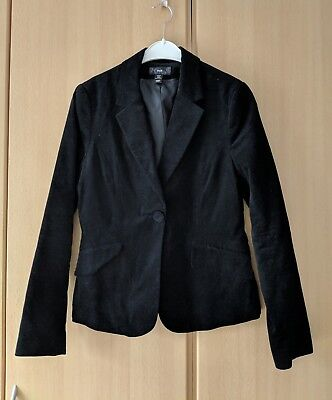 Schwarze Geraffte Tasche (Damen Blazer Schwarz Cord Gerafft Fake Tasche Knöpfe Schlitz Größe 38)