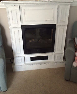 White distressed fireplace