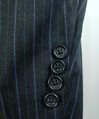 Jack Victor Mens Charcoal Gray Suit Blue Pinstripe 2Button 2pc Wool 54/56L 45x29