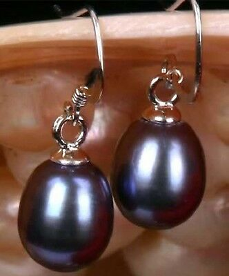 Beautiful Natural 6-7MM Tahitian Black Pearl Silver Hook Dangle Earrings (7mm Black Pearl Earrings)