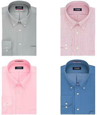 Chaps Dress Shirt Mens Big & Tall Regular-Fit Long Sleeves Iron Free Button Down
