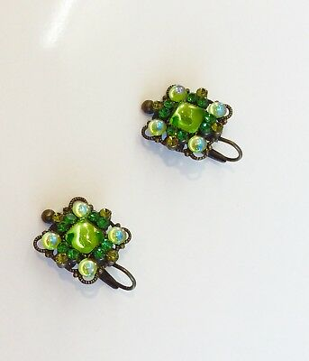Green Glass Stones Earrings  By Franck Herval, Paris