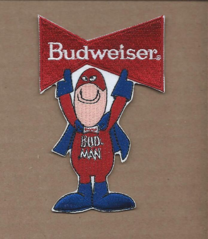 NEW 2 1/2 X 4 INCH BUDWEISER BOW TIE BUD MAN IRON ON PATCH FREE SHIPPING E1