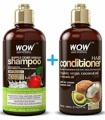 WOW Apple Cider Vinegar Shampoo + Coconut Oil Hair Conditioner Set - 16.9 Fl Oz