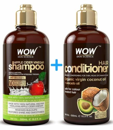WOW Apple Cider Vinegar Shampoo and Coconut Oil Hair Conditioner Set - 16.9 Oz