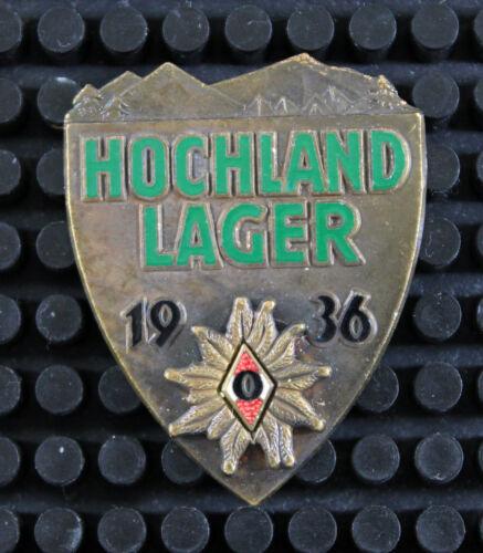 German WWII Bronze 1936 H Jugend HJ Hochland Lager Edelweiss Alpine Badge
