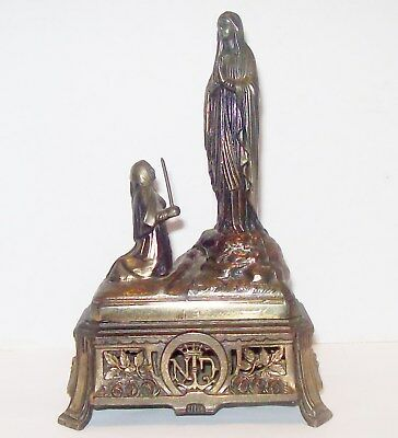 Antique Vtg St. Joan of Arc Virgin Mary Notre Dame De Lourdes France Music Box