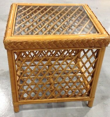 Handmade Vintage Wicker and Cane Glass Topped Coffee Table