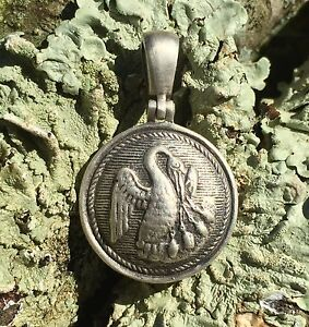 Sterling Silver Confederate LOUISIANA State Seal Button Civil War Relic Pendant