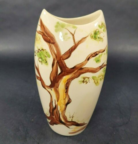Vintage Hawaiian Pottery Signed the pottery hawaii vase Hand Painted Tree 1950s