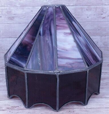 Vtg Handmade? Purple Stained Glass Bar Light Lamp Shade Only 10