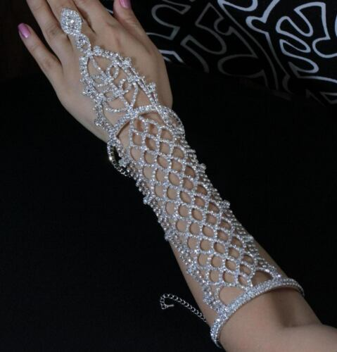 Long Slave Glove Clear Austrian Rhinestone Crystal Bracelet With Ring Bangle B88
