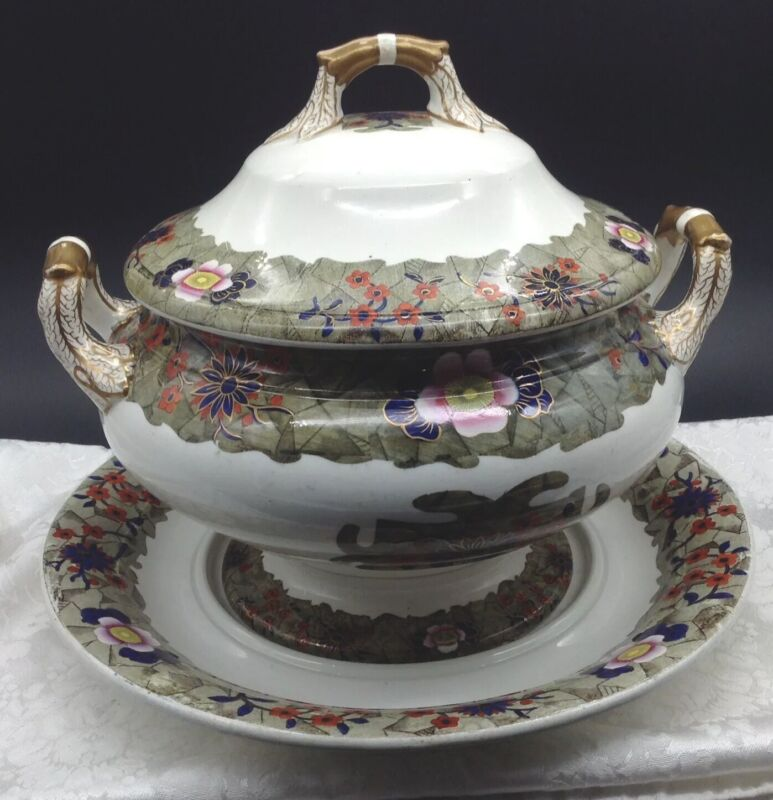 Antique Spode Covered Soup Tureen Underplate Flower Chinese Imari Style Serving
