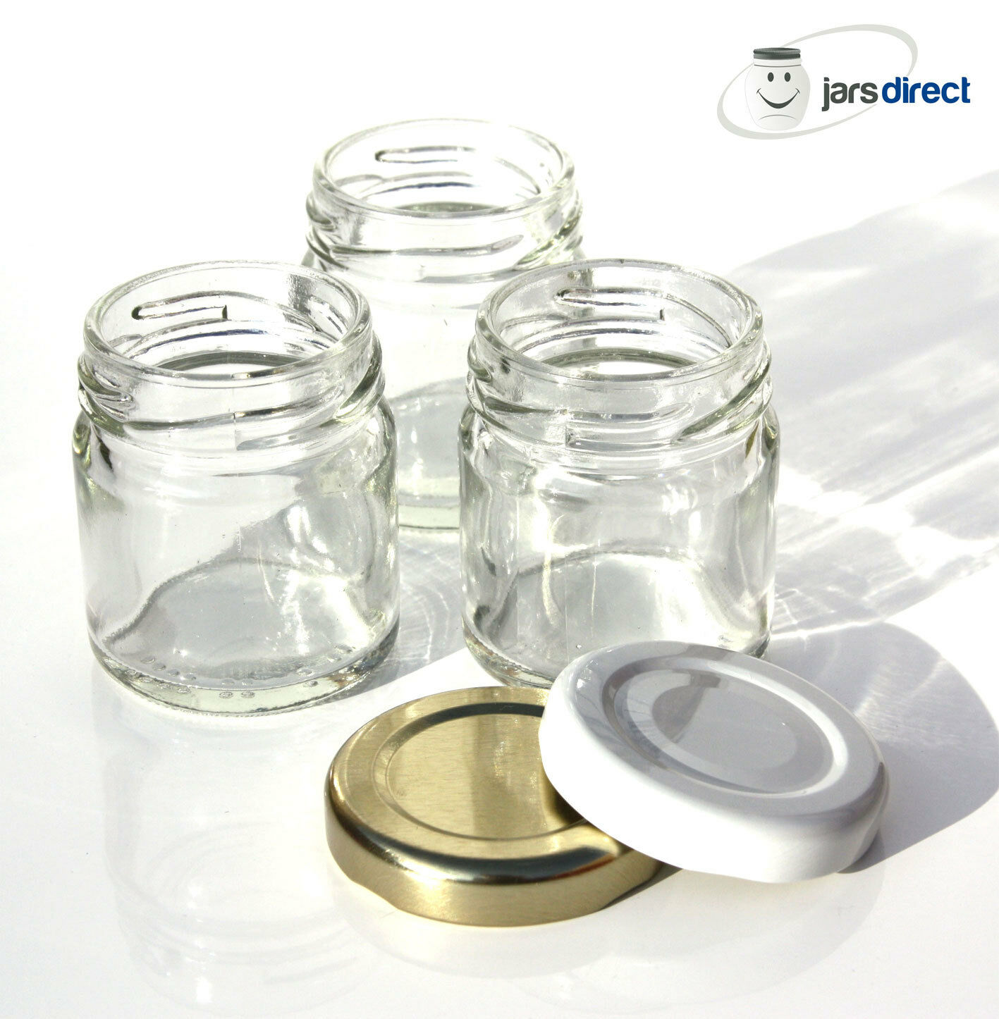 50 x 1.5oz (43ml) GLASS MINI JARS - SUITABLE FOR SMALL WEDDING ...