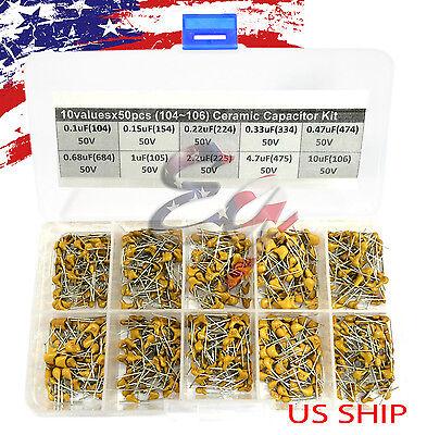 10 Types X 50 0.1uf10uf 104106 Monolithic Ceramic Capacitor Assorted Kit Box