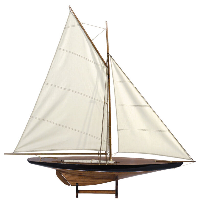 """Blue & Green 1901 Sail Pond Yacht Model 43"""" Cup Contender Sailboat New"""