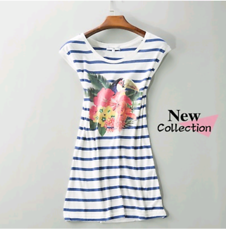 Brand New Cache Cache Tropical Toucan and Hibiscus Striped Top