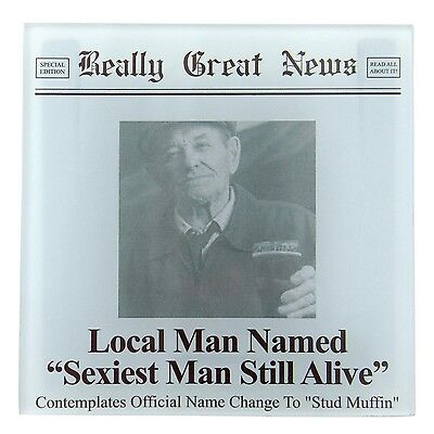 Really Great News 4041633 Sexiest Man Glass Coaster (Insert your own (Sexiest Glasses)