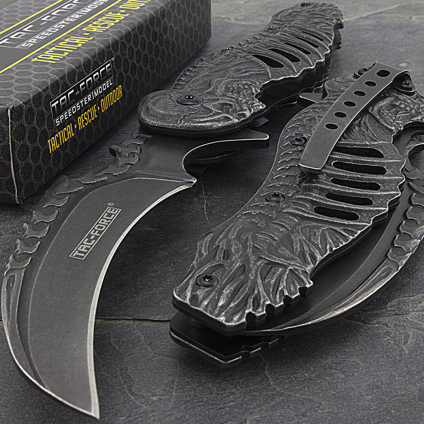 """8.25"""" TAC FORCE SKULL STONEWASH SPRING ASSISTED FANTASY FOLDING POCKET KNIFE"""