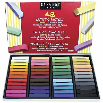 Sargent Art Non-Toxic Square Chalk Pastel Set in Tray, 3/4 X 2-1/2 in, Assorted  Sargent Art Chalk