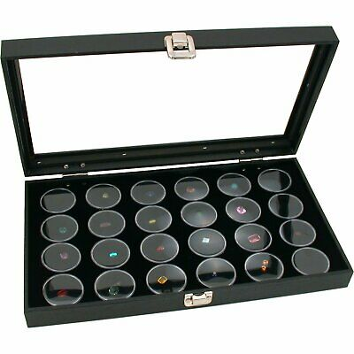 New Glass Top Jewelry Display Case Box Black 24 Gem Gold Nugget With Large Jars