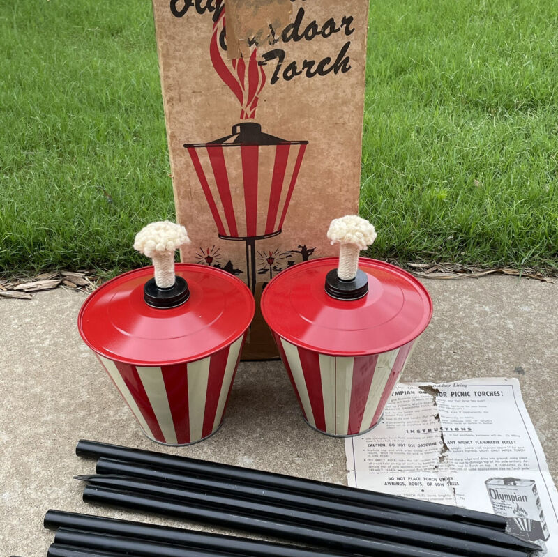 Vintage Olympian Outdoor Torch Red White Striped Gas Tiki Lights in Box
