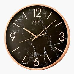 NEW SEIKO 16 ROUND WALL CLOCK GOLD METALLIC FRAME W/ QUIET SWEEP QXA760PLH