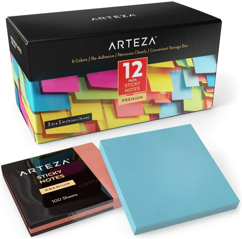 ARTEZA Sticky Notes, Assorted Colors, 100 Sheets, Pack of 12