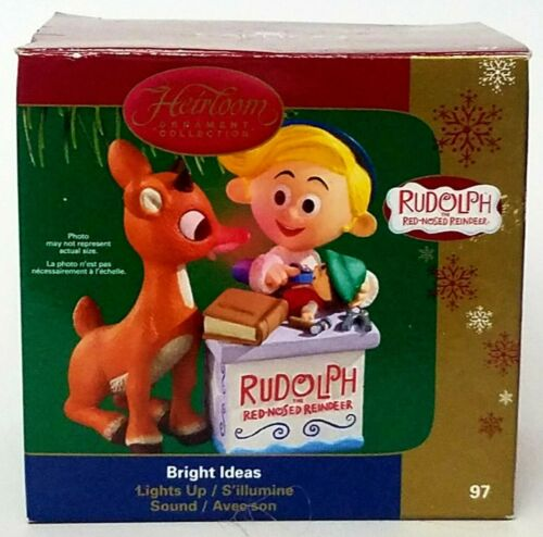 Rudolph The Red-Nosed Reindeer & Hermey Carlton Cards Lights & Sound Ornament