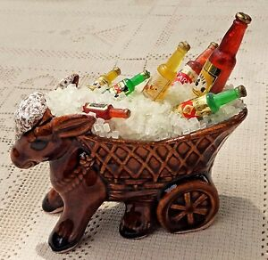 VINTAGE-UNIQUE-BAR-DECORATION-FIGURINE-DONKEY-W-CART-OF-ICE-amp-MEXICAN-BEER