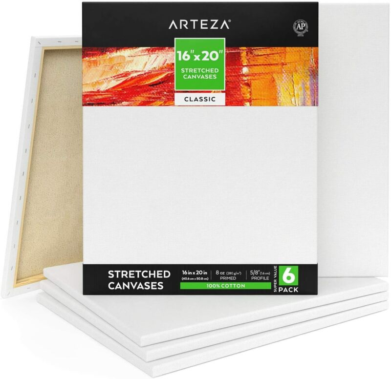 "ARTEZA Stretched Canvas, Classic, 16"" x 20"", Pack of 6"
