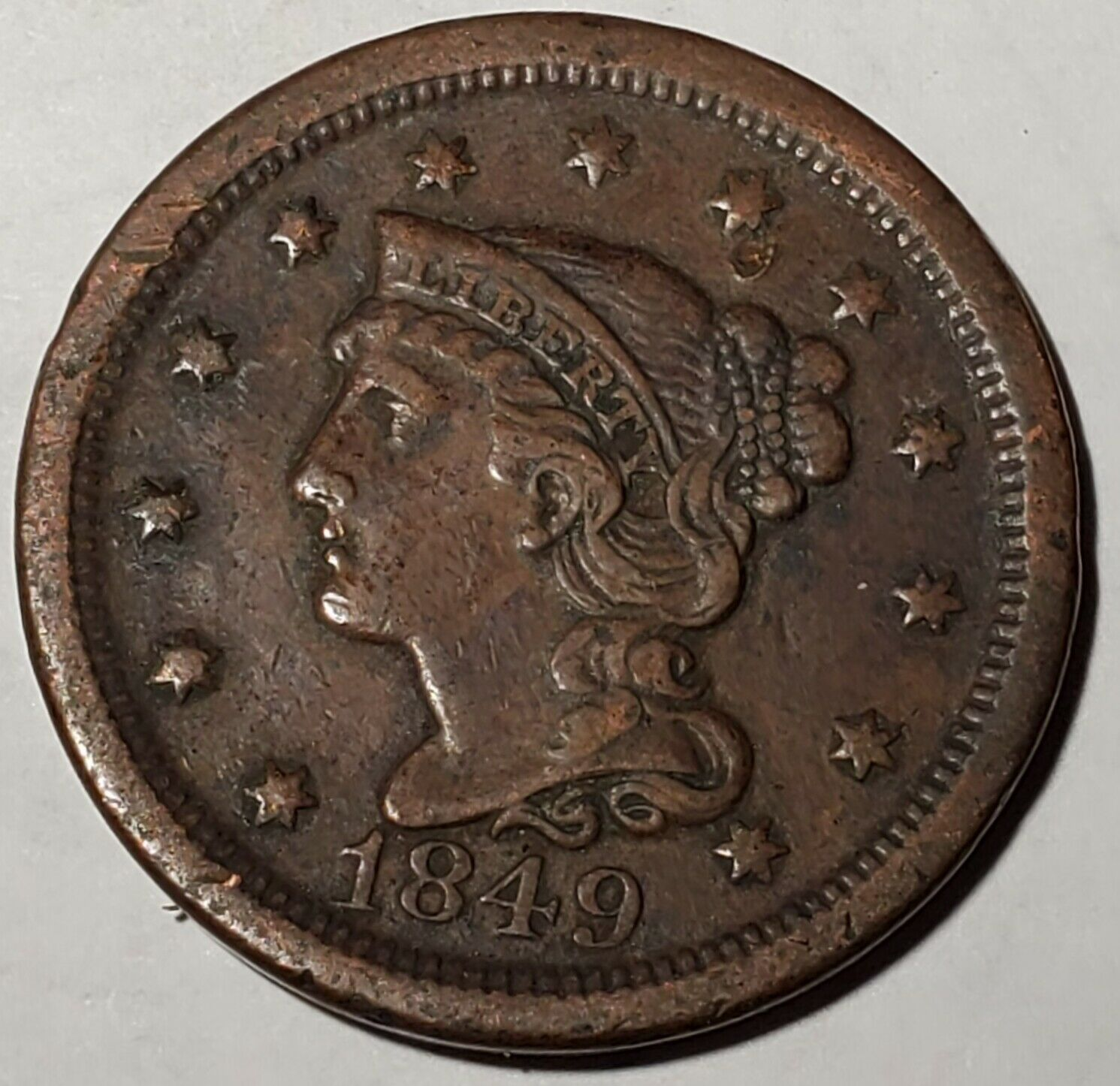 1849 1C BN Large Cent-FINE+-Free USA Ship-FN+