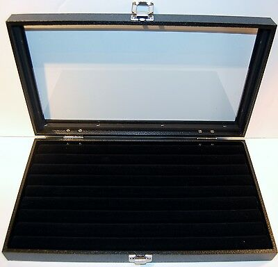 Wood Glass Top Ring Display Show Case With Black Velvet 8 Row Tufted Insert