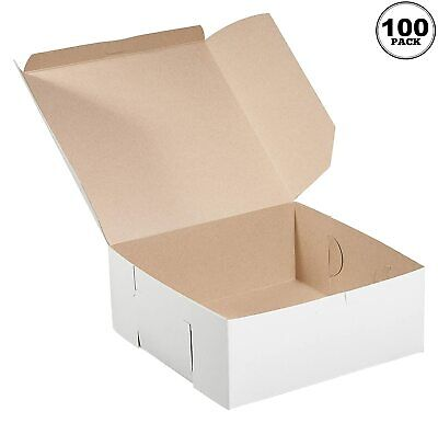 100 Pack White Bakery Pastry Boxes - 6 X 6 X 3 Inches