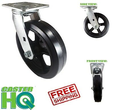 Casterhq - 6 X 2 Dumpster Swivel Mold On Rubber Caster - Heavy Duty Wheel