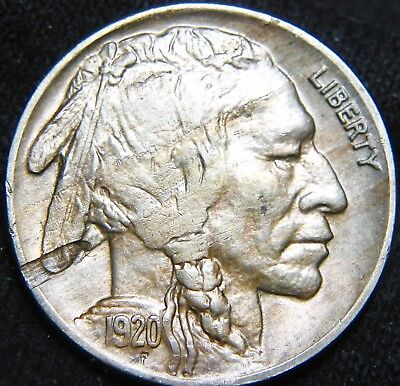 BOLD Sharp Date 1920-P BUFFALO NICKEL 5¢! Obverse Lamination! FREE S&H ER06SI