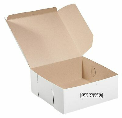 50 Pack White Bakery Pastry Boxes - 6 X 6 X 3 Inches