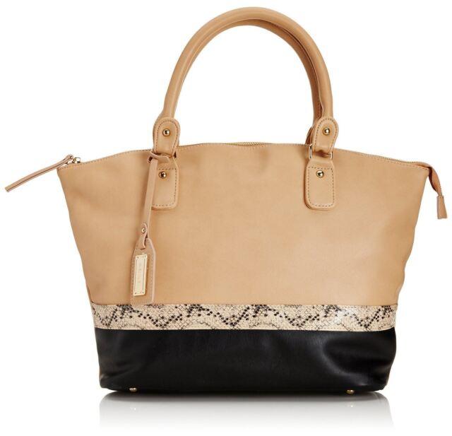 Henley Fashion Handbag in Beige with Faux Snakeskin Detail  HBAG051.4