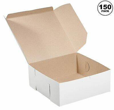 150 Pack White Bakery Pastry Boxes - 6 X 6 X 3 Inches