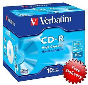 Verbatim 43428 800MB 90 min 40x Speed High Capacity CD-R Jewel Cased 10 Pack