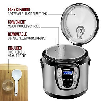 Chefman Electric Pressure Cooker 9-in-1 Programmable Multicooker 6 Qt RJ40-6-CH
