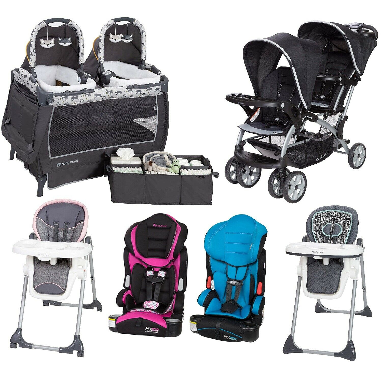 Boy Girl Travel System Twins Combo Set Baby Double Stroller