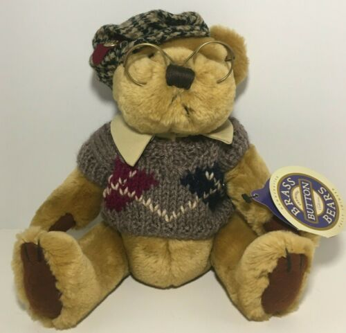 """NWT Vintage 1996 Brass Button Bears 8"""" Fully Jointed  """"SHERWOOD"""" Teddy Bear NEW!"""